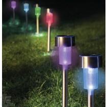 Комплект 10бр Иноксови RGB Соларни Лампи