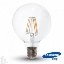 LED Крушка - SAMSUNG ЧИП Filament 6W E27 G95 Amber 2700K