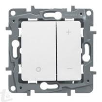 Бутонен димер за различни товари Може да управлява и халоген ELV с феромагнитен трансформатор. С 2 бутона – ВКЛ / ИЗКЛ и независим бутон за усилване и намаляване на осветлението.