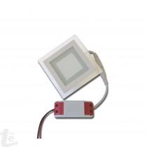 LED Панел за Вграждане  със Стъклена Периферия 6W Квадратен 4500К